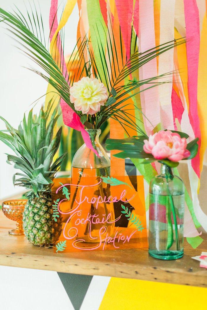 Party sign + decor from a Tropical FOURest Birthday Party on Kara's Party Ideas | KarasPartyIdeas.com (11)