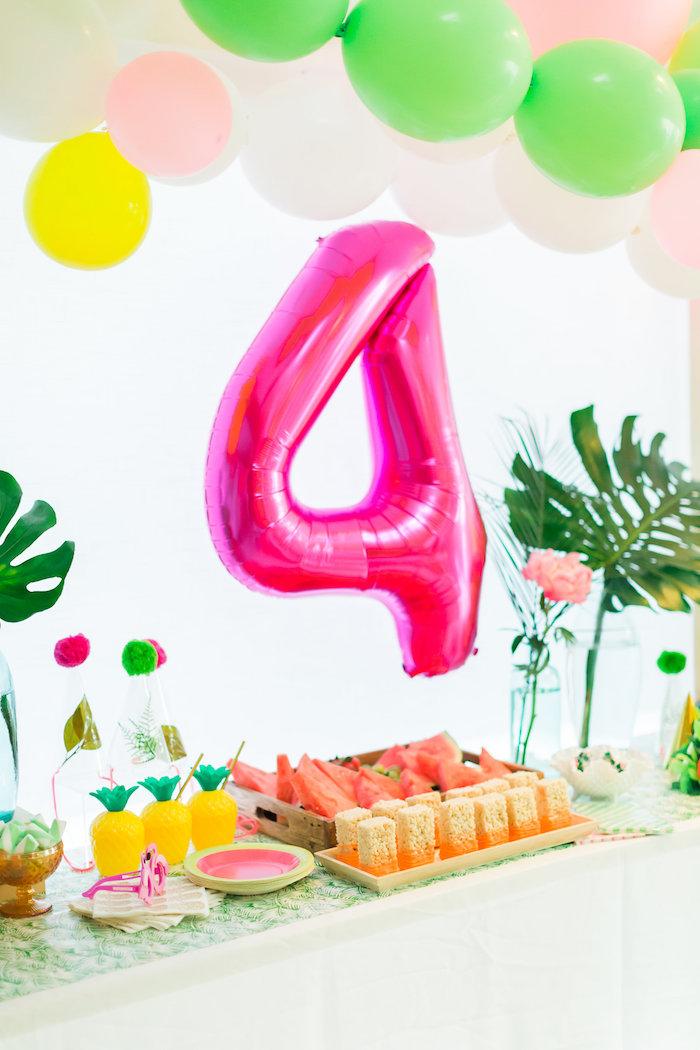 Party table from a Tropical FOURest Birthday Party on Kara's Party Ideas | KarasPartyIdeas.com (10)