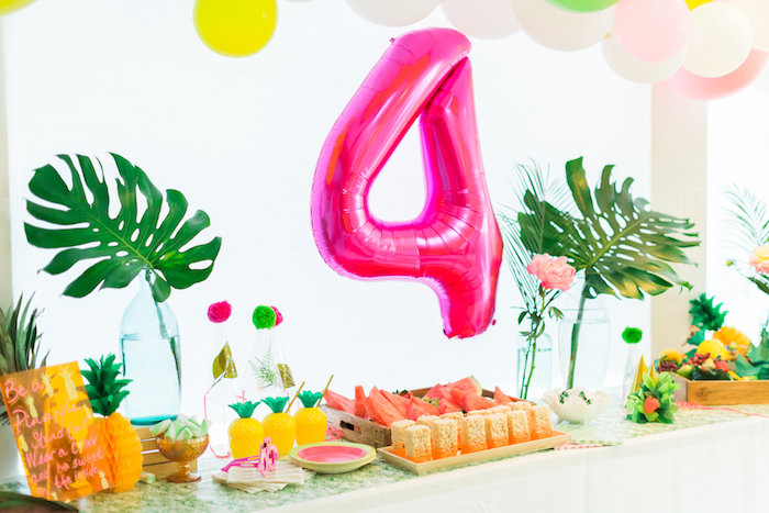 Party table from a Tropical FOURest Birthday Party on Kara's Party Ideas | KarasPartyIdeas.com (9)