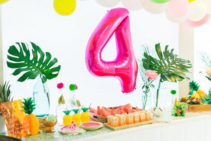 Party table from a Tropical FOURest Birthday Party on Kara's Party Ideas | KarasPartyIdeas.com (9)