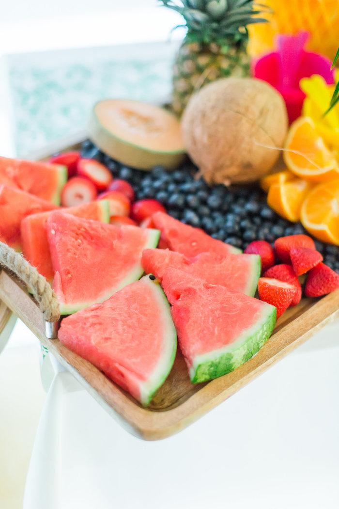 Fresh fruit platter from a Tropical FOURest Birthday Party on Kara's Party Ideas | KarasPartyIdeas.com (8)
