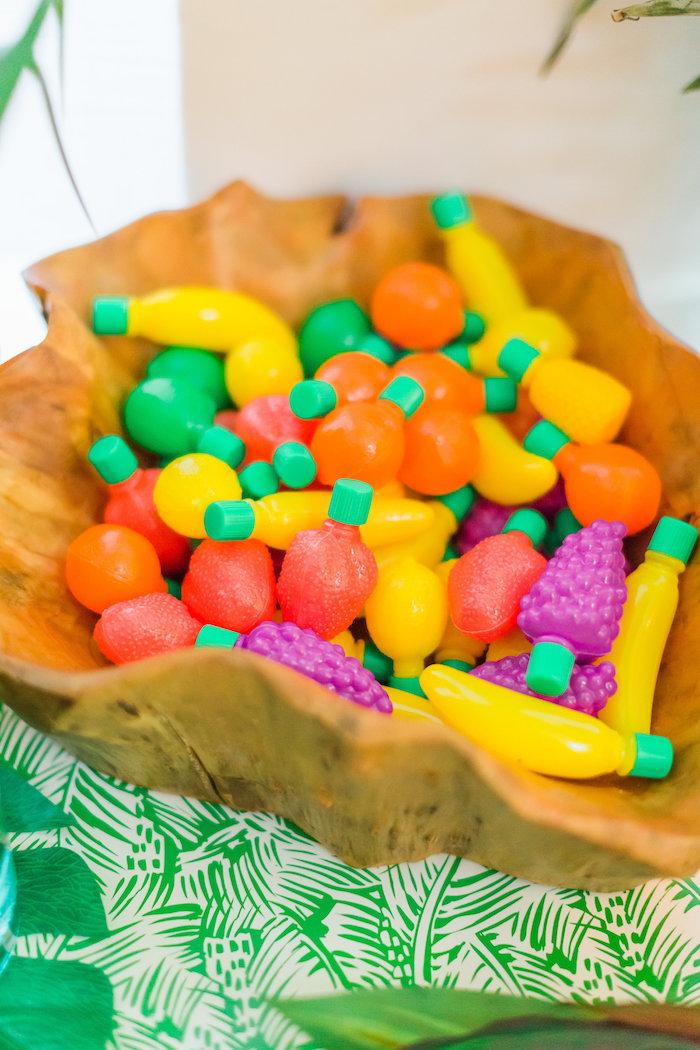 Fruit bubble favors from a Tropical FOURest Birthday Party on Kara's Party Ideas | KarasPartyIdeas.com (7)