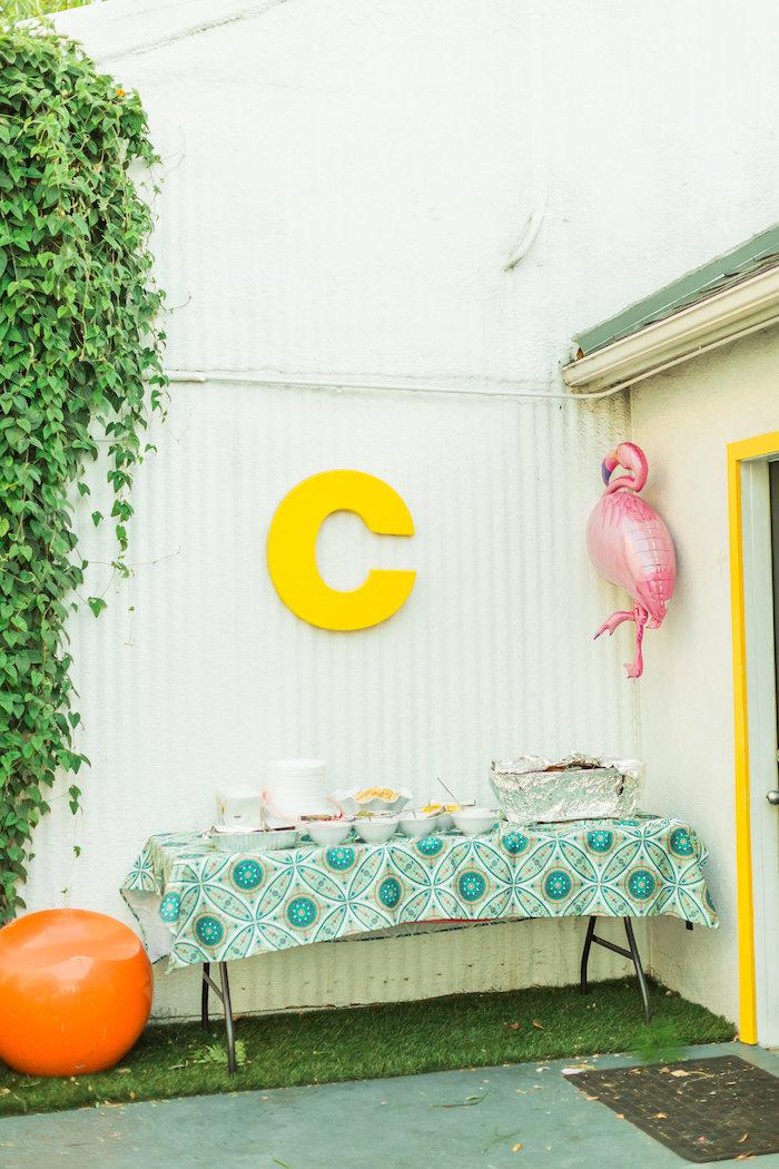 Food table from a Tropical FOURest Birthday Party on Kara's Party Ideas | KarasPartyIdeas.com (5)