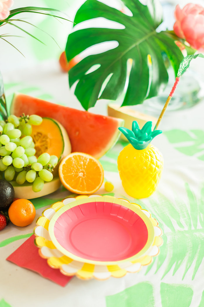 Place setting from a Tropical FOURest Birthday Party on Kara's Party Ideas | KarasPartyIdeas.com (48)