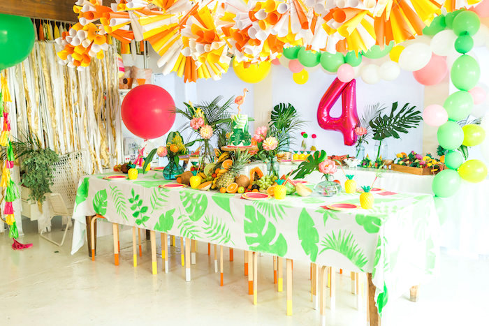 Guest table from a Tropical FOURest Birthday Party on Kara's Party Ideas | KarasPartyIdeas.com (46)