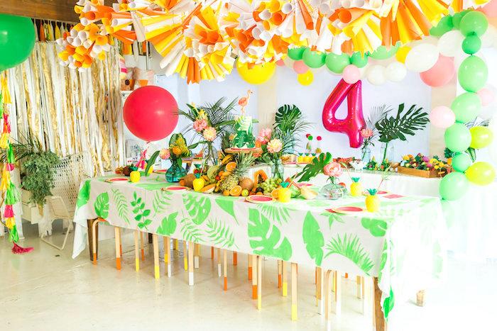 Guest table from a Tropical FOURest Birthday Party on Kara's Party Ideas | KarasPartyIdeas.com (46)