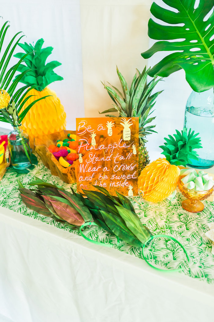 Party sign + decor from a Tropical FOURest Birthday Party on Kara's Party Ideas | KarasPartyIdeas.com (44)