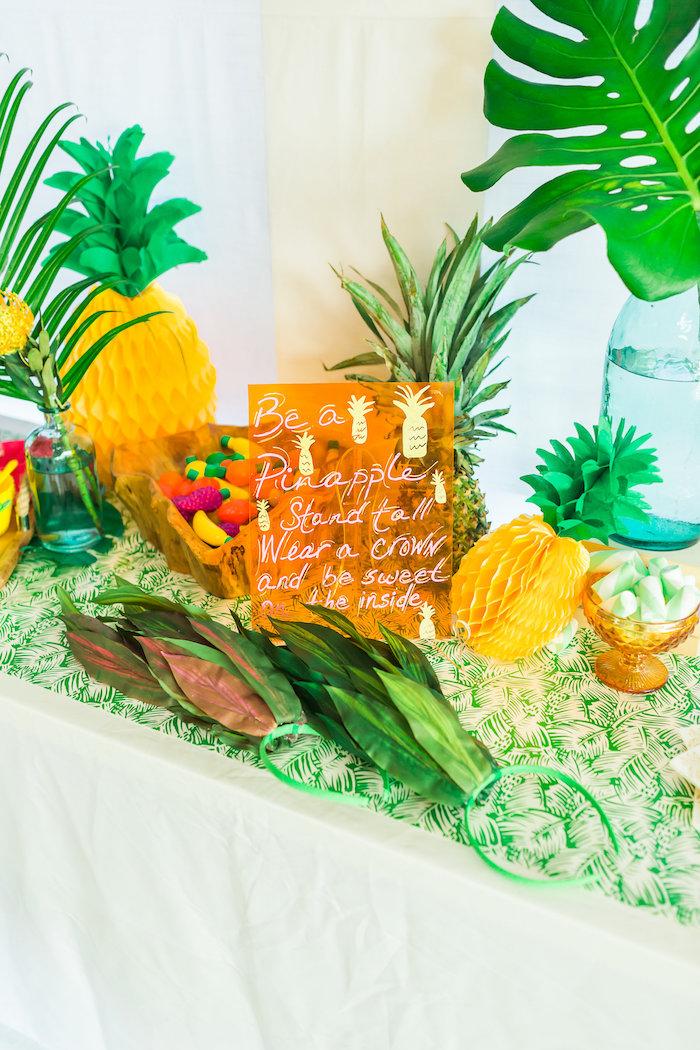 Party sign + decor from a Tropical FOURest Birthday Party on Kara's Party Ideas | KarasPartyIdeas.com (44)