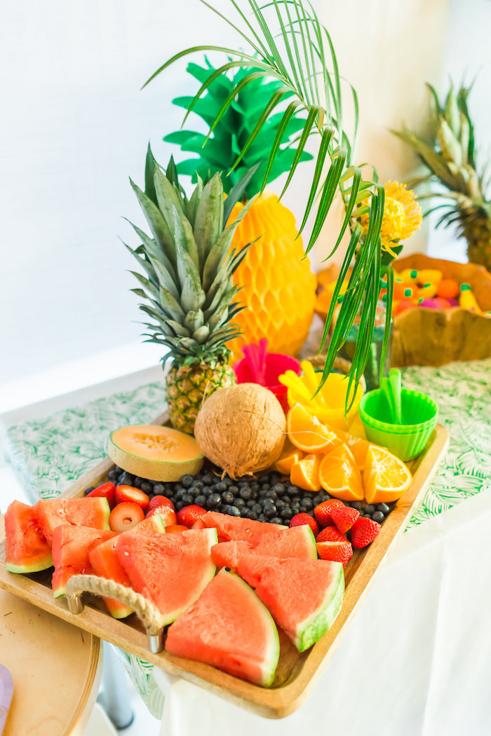 Fruit platter from a Tropical FOURest Birthday Party on Kara's Party Ideas | KarasPartyIdeas.com (43)