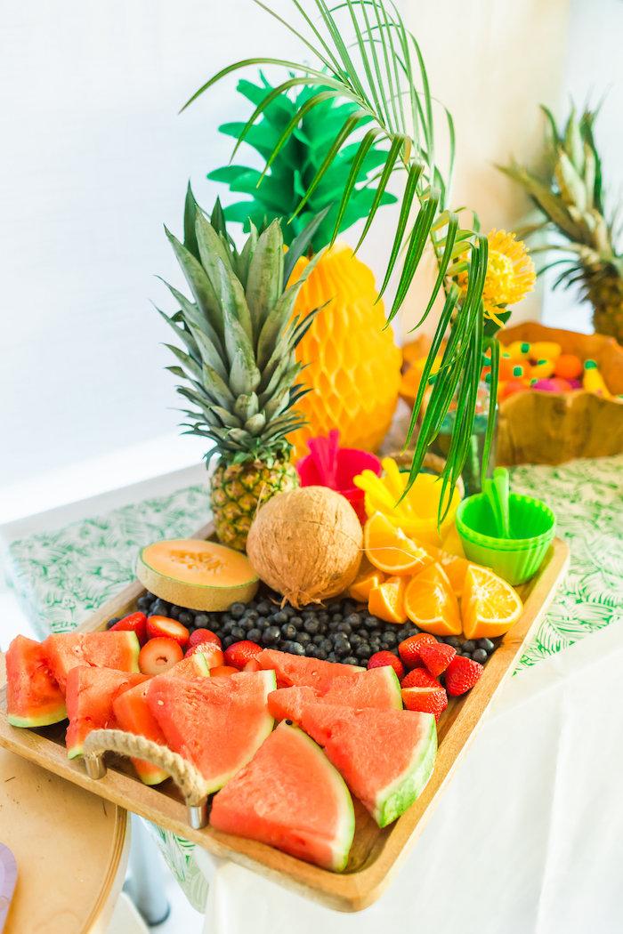 Fruit platter from a Tropical FOURest Birthday Party on Kara's Party Ideas | KarasPartyIdeas.com (43)