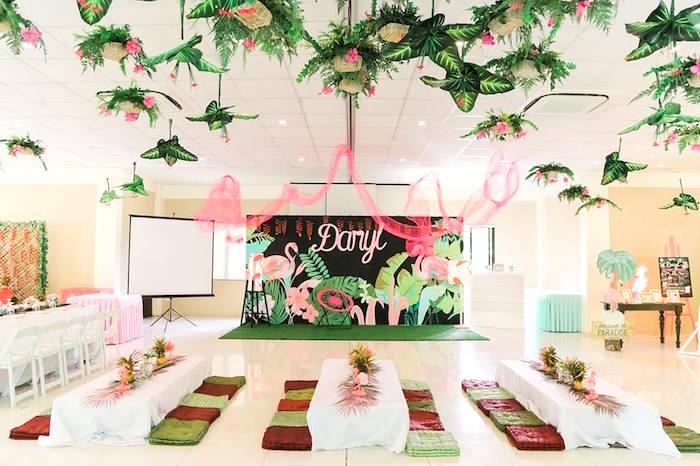 Kid tables from a Tropical Flamingo Paradise Party on Kara's Party Ideas | KarasPartyIdeas.com (30)