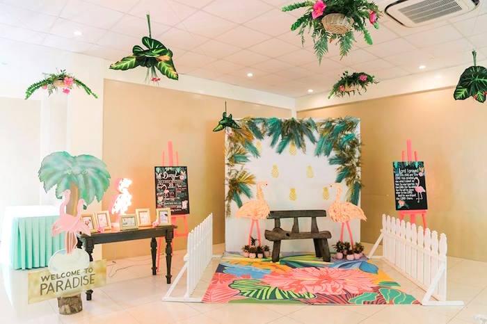 Tropical Paradise photo booth + decor from a Tropical Flamingo Paradise Party on Kara's Party Ideas | KarasPartyIdeas.com (27)