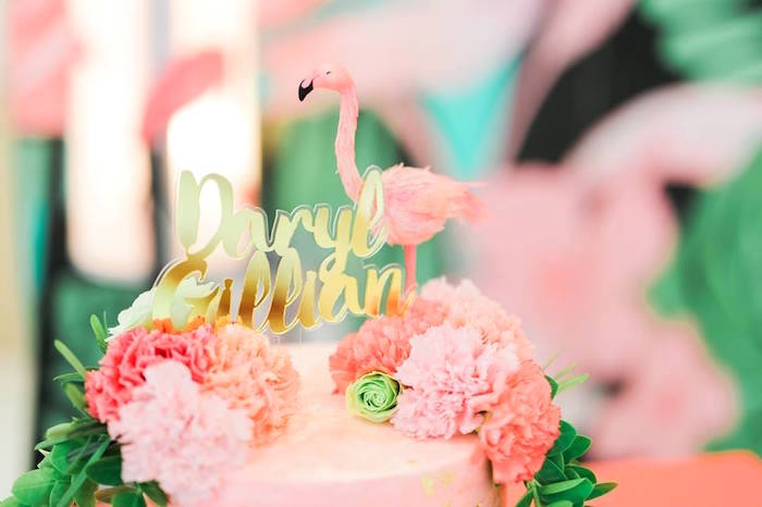 Cake top from a Tropical Flamingo Paradise Party on Kara's Party Ideas | KarasPartyIdeas.com (44)