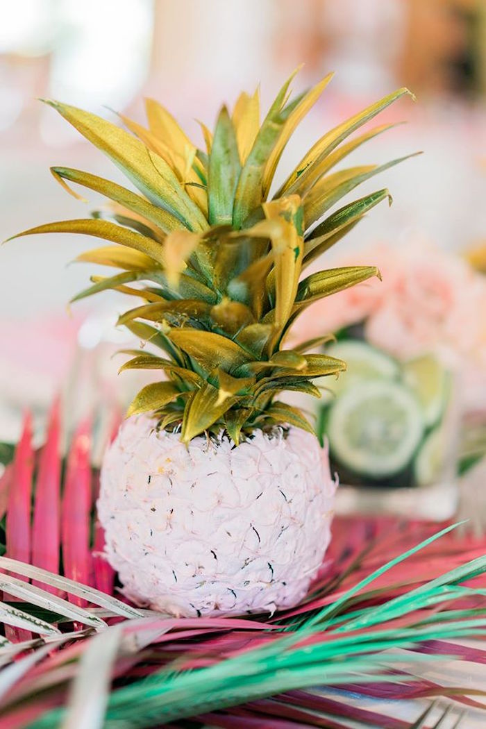 Painted pineapple from a Tropical Flamingo Paradise Party on Kara's Party Ideas | KarasPartyIdeas.com (22)