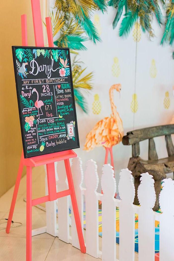Fact board & tropical decor from a Tropical Flamingo Paradise Party on Kara's Party Ideas | KarasPartyIdeas.com (20)