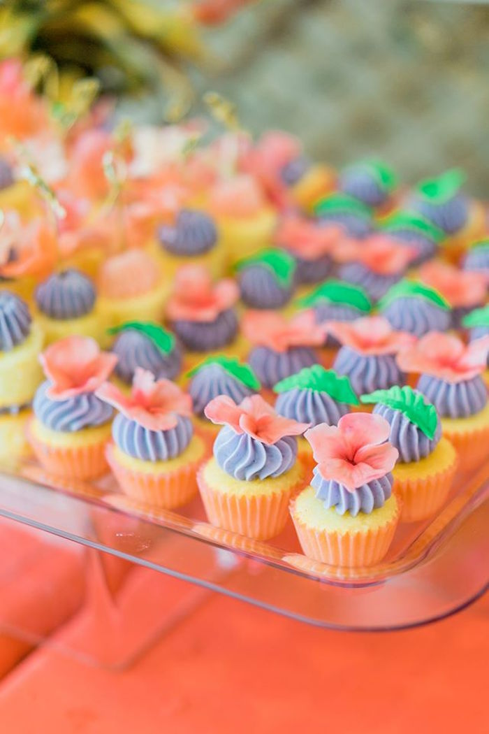 Mini cupcakes from a Tropical Flamingo Paradise Party on Kara's Party Ideas | KarasPartyIdeas.com (17)