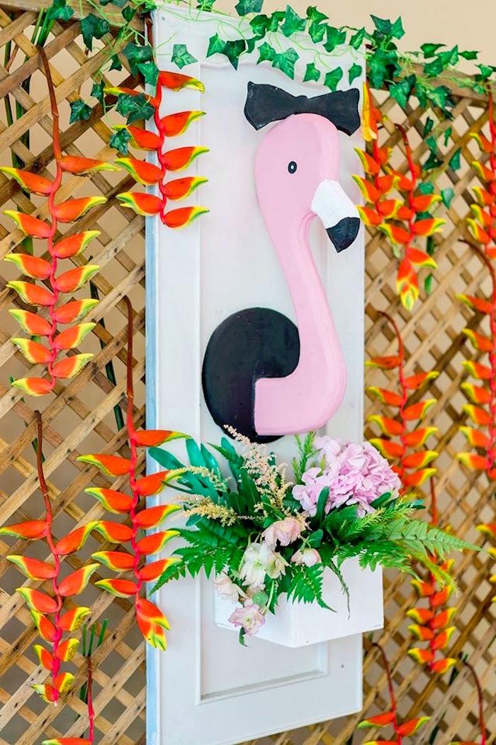 Flamingo lattice backdrop from a Tropical Flamingo Paradise Party on Kara's Party Ideas | KarasPartyIdeas.com (14)