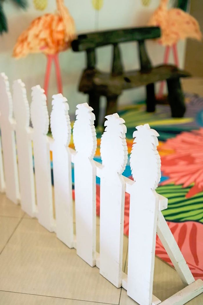 Pineapple picket fence from a Tropical Flamingo Paradise Party on Kara's Party Ideas | KarasPartyIdeas.com (11)
