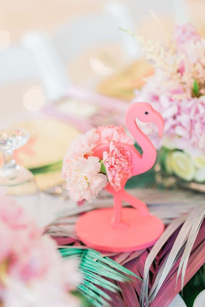 Flower flamingo centerpiece from a Tropical Flamingo Paradise Party on Kara's Party Ideas | KarasPartyIdeas.com (10)