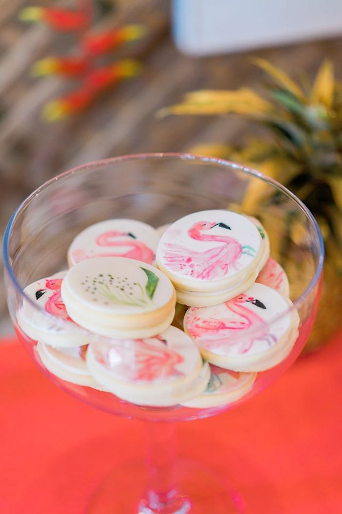 Flamingo cookies from a Tropical Flamingo Paradise Party on Kara's Party Ideas | KarasPartyIdeas.com (8)