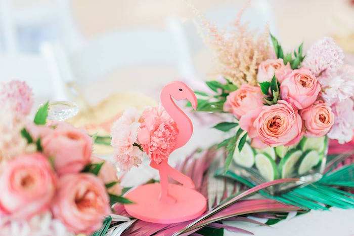 Flamingo & floral centerpieces from a Tropical Flamingo Paradise Party on Kara's Party Ideas | KarasPartyIdeas.com (2)