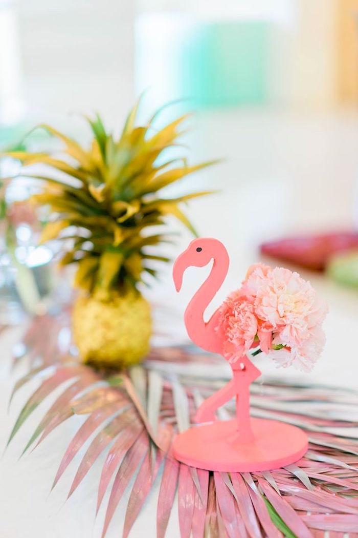 Flower flamingo centerpiece from a Tropical Flamingo Paradise Party on Kara's Party Ideas | KarasPartyIdeas.com (40)