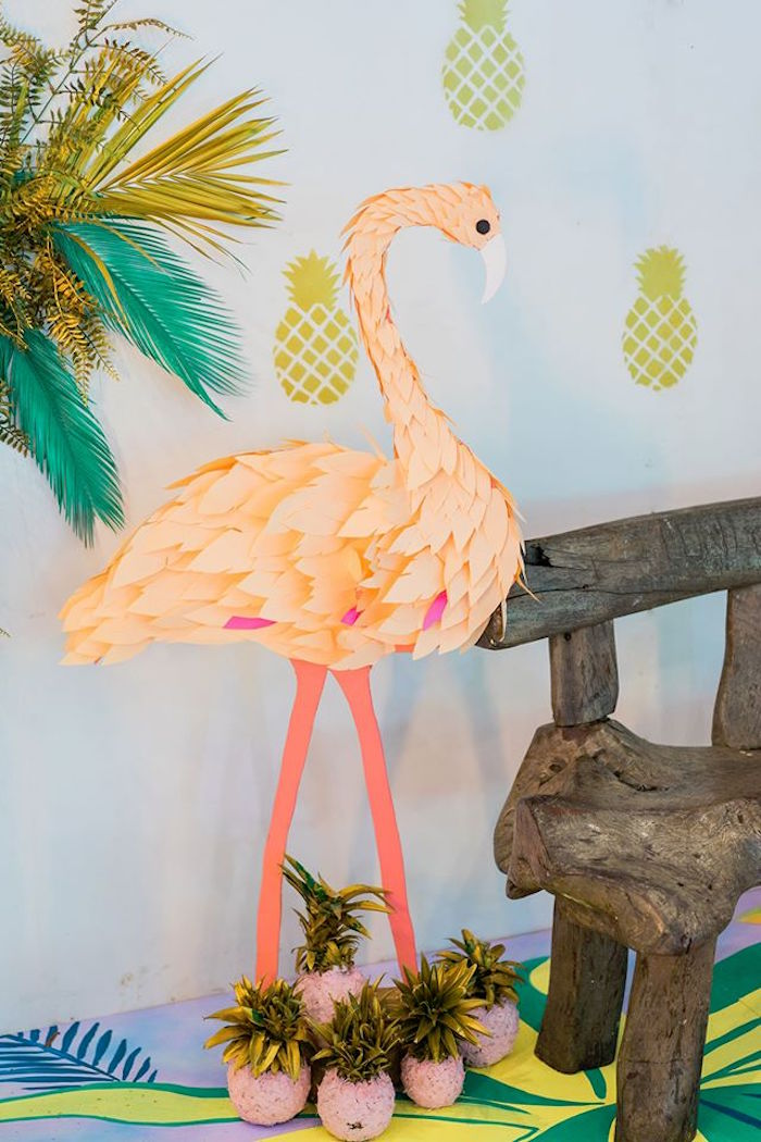 Flamingo party prop from a Tropical Flamingo Paradise Party on Kara's Party Ideas | KarasPartyIdeas.com (36)