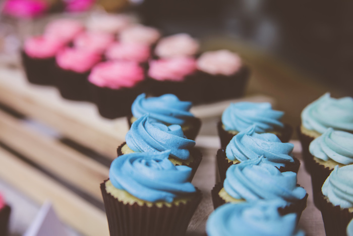 Cupcakes from an Urban Gender Reveal Party on Kara's Party Ideas | KarasPartyIdeas.com (20)