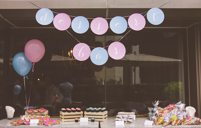 Sweet table from an Urban Gender Reveal Party on Kara's Party Ideas | KarasPartyIdeas.com (17)