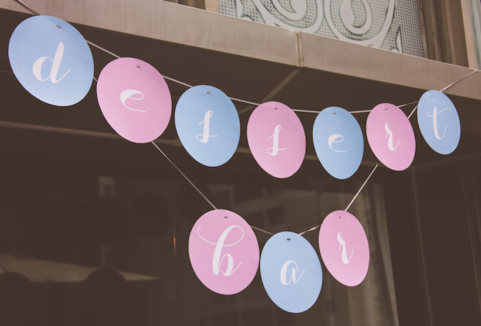 Circle banner from an Urban Gender Reveal Party on Kara's Party Ideas | KarasPartyIdeas.com (16)