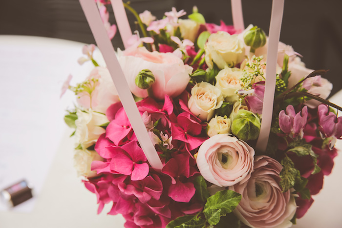 Pink floral arrangement from an Urban Gender Reveal Party on Kara's Party Ideas | KarasPartyIdeas.com (14)