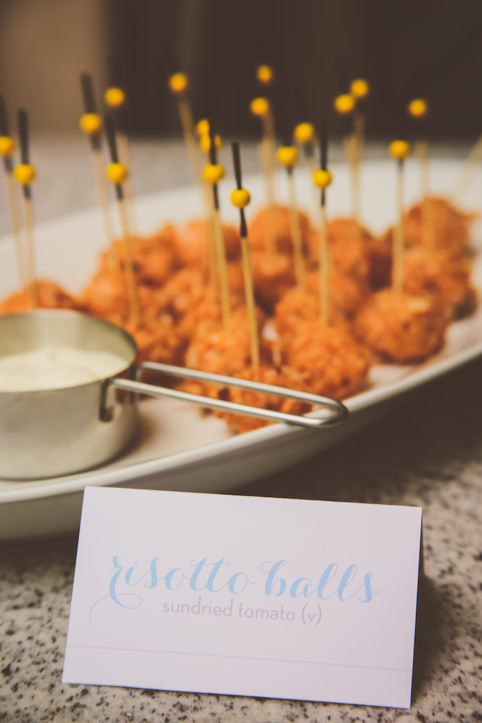 Risotto balls from an Urban Gender Reveal Party on Kara's Party Ideas | KarasPartyIdeas.com (13)