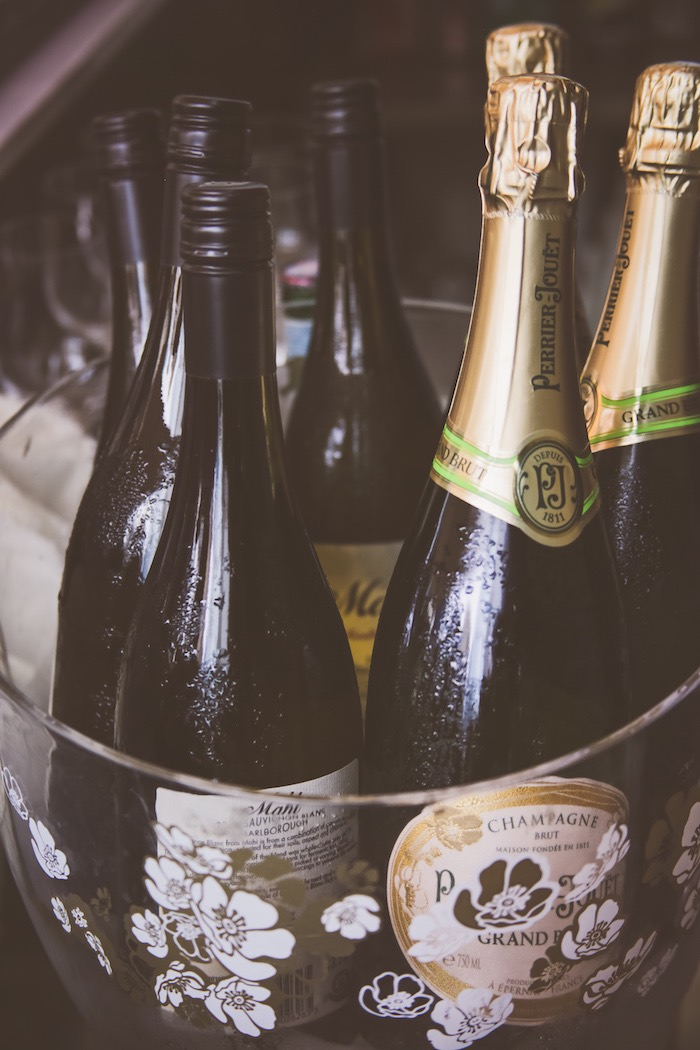Champagne bottles from an Urban Gender Reveal Party on Kara's Party Ideas | KarasPartyIdeas.com (6)