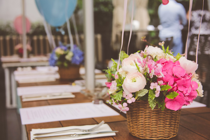 Guest tablescape + floral centerpiece from an Urban Gender Reveal Party on Kara's Party Ideas | KarasPartyIdeas.com (24)