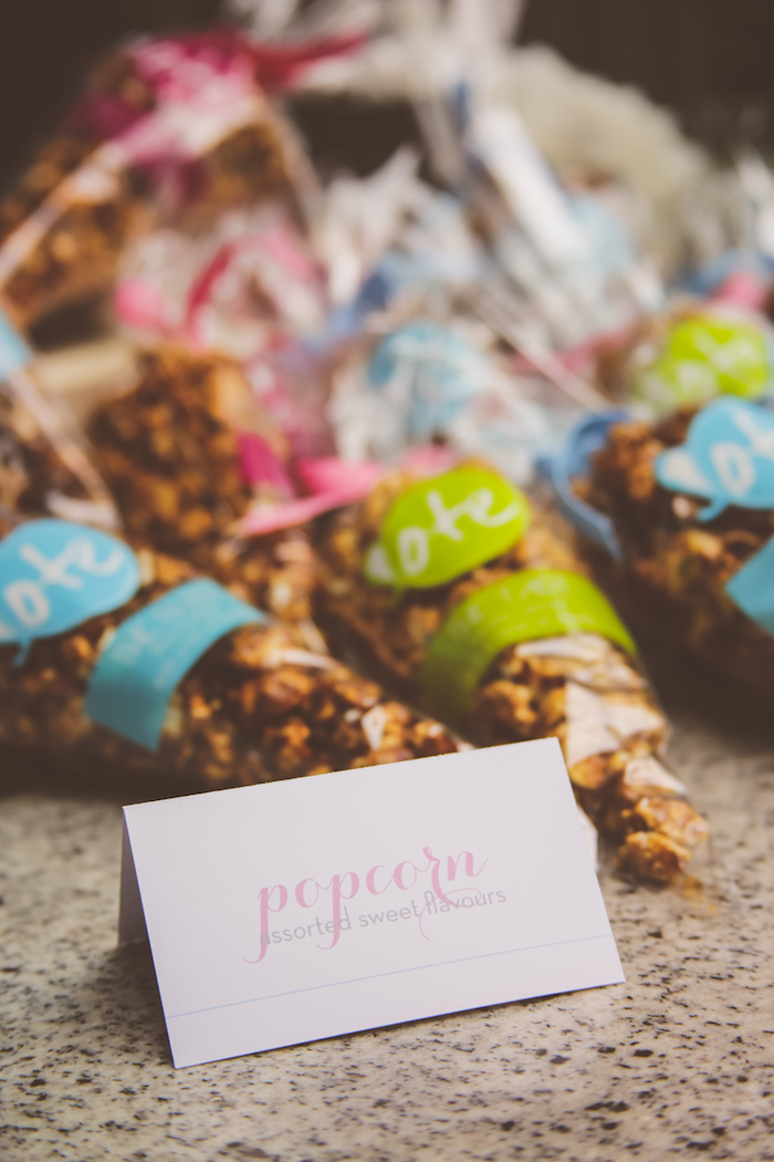 Popcorn favor cones from an Urban Gender Reveal Party on Kara's Party Ideas | KarasPartyIdeas.com (23)