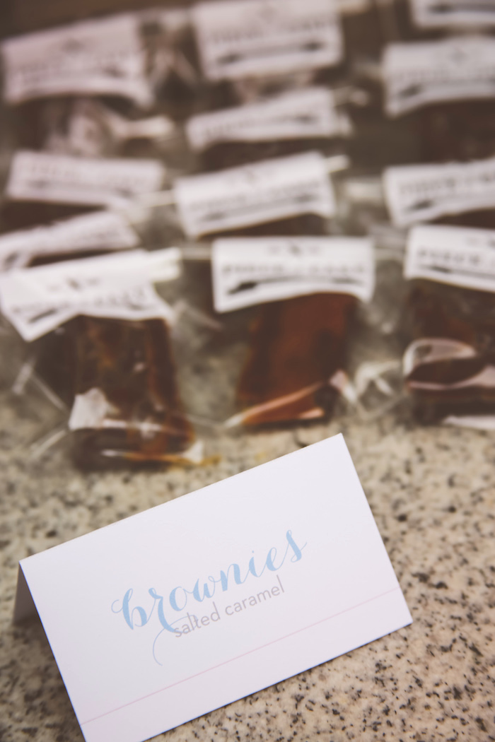 Brownies +sweet label from an Urban Gender Reveal Party on Kara's Party Ideas | KarasPartyIdeas.com (21)
