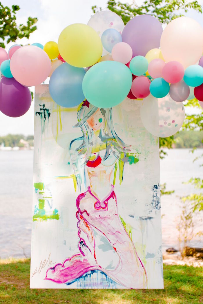 Watercolor mermaid backdrop from a Watercolor Mermaid Birthday Party on Kara's Party Ideas | KarasPartyIdeas.com (43)