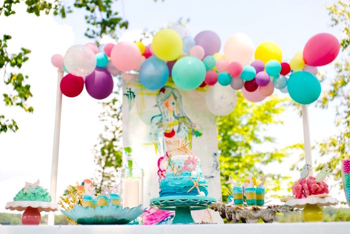 Dessert table from a Watercolor Mermaid Birthday Party on Kara's Party Ideas | KarasPartyIdeas.com (40)