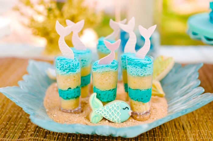 Mermaid fin cake shooter from a Watercolor Mermaid Birthday Party on Kara's Party Ideas | KarasPartyIdeas.com (38)