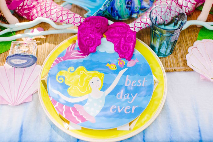 Mermaid place setting from a Watercolor Mermaid Birthday Party on Kara's Party Ideas | KarasPartyIdeas.com (37)
