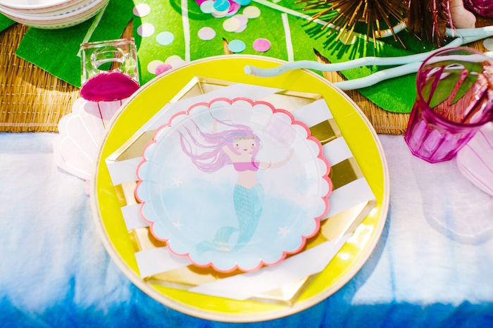 Mermaid place setting from a Watercolor Mermaid Birthday Party on Kara's Party Ideas | KarasPartyIdeas.com (35)