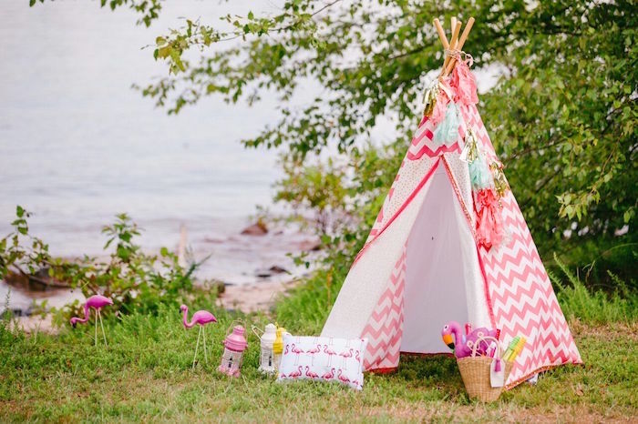 Teepee from a Watercolor Mermaid Birthday Party on Kara's Party Ideas | KarasPartyIdeas.com (53)