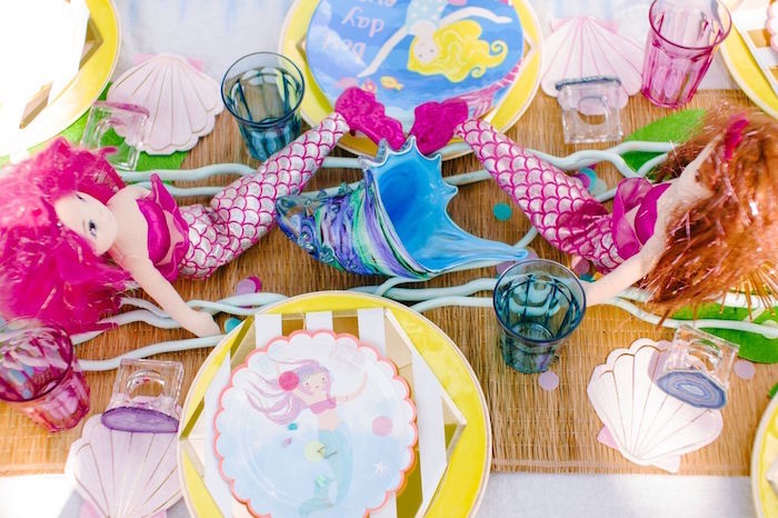 Guest tabletop from a Watercolor Mermaid Birthday Party on Kara's Party Ideas | KarasPartyIdeas.com (33)