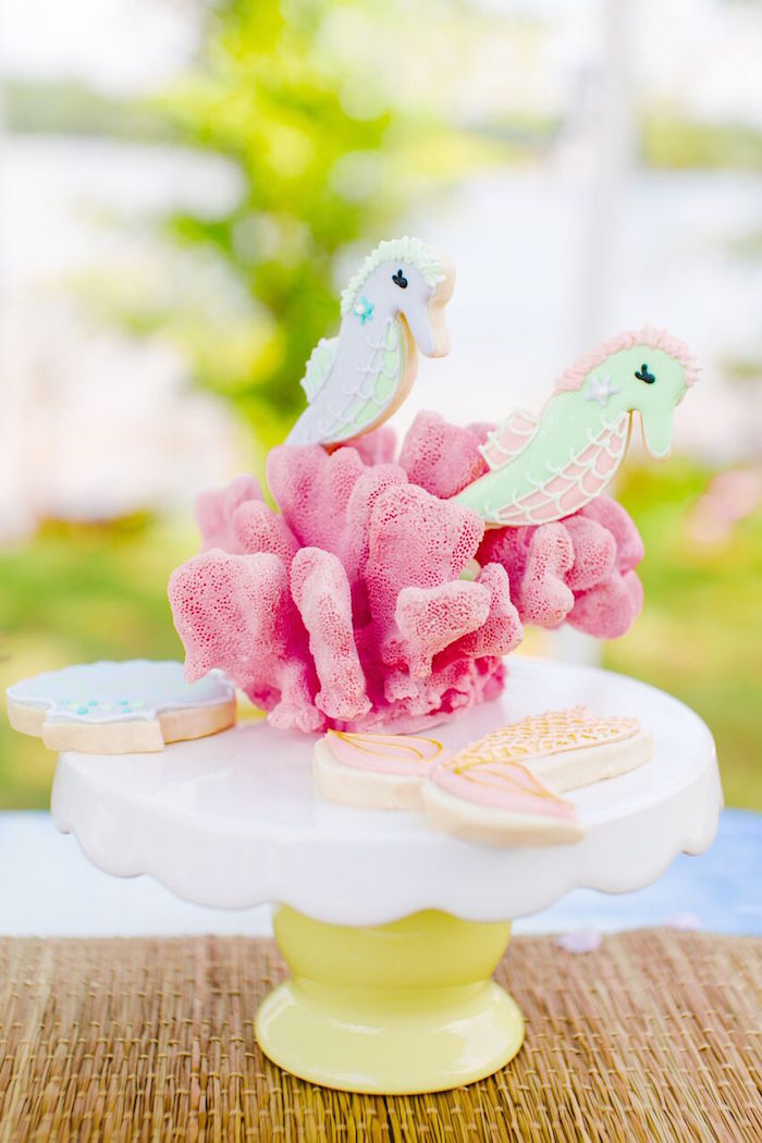 Seahorse cookies in coral from a Watercolor Mermaid Birthday Party on Kara's Party Ideas | KarasPartyIdeas.com (31)