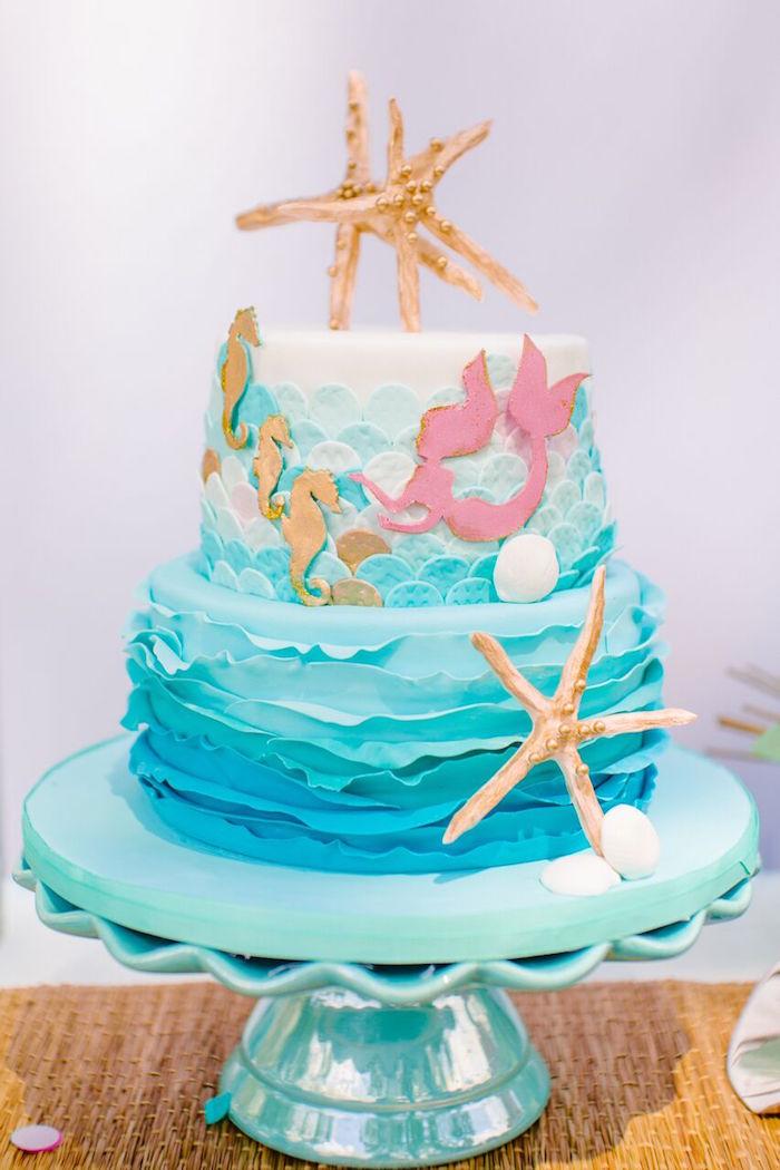 Mermaid cake from a Watercolor Mermaid Birthday Party on Kara's Party Ideas | KarasPartyIdeas.com (21)