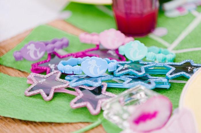 Mermaid bracelets & star sunglasses from a Watercolor Mermaid Birthday Party on Kara's Party Ideas | KarasPartyIdeas.com (17)