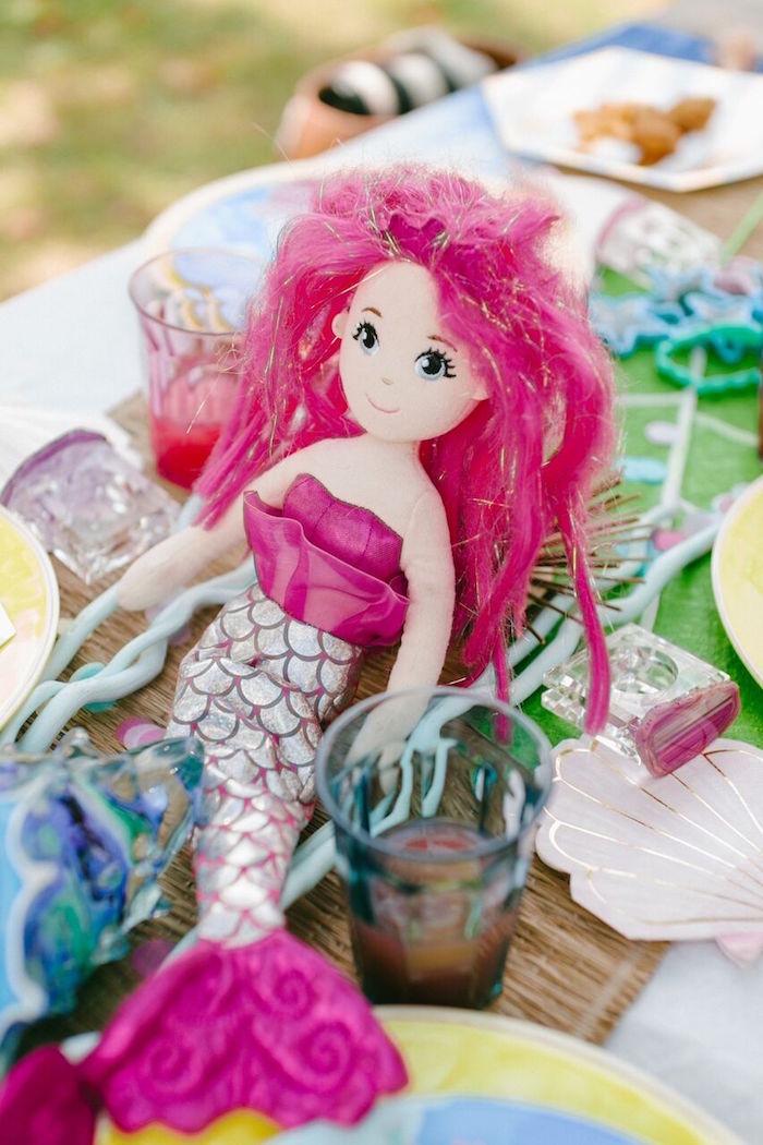 Mermaid doll from a Watercolor Mermaid Birthday Party on Kara's Party Ideas | KarasPartyIdeas.com (15)