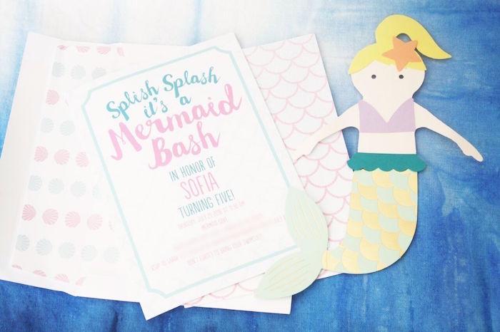 Invitation from a Watercolor Mermaid Birthday Party on Kara's Party Ideas | KarasPartyIdeas.com (6)