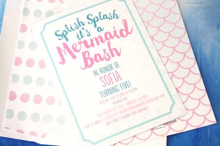 Invitation from a Watercolor Mermaid Birthday Party on Kara's Party Ideas | KarasPartyIdeas.com (5)