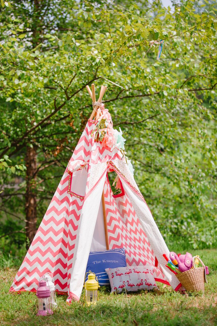 Teepee from a Watercolor Mermaid Birthday Party on Kara's Party Ideas | KarasPartyIdeas.com (4)